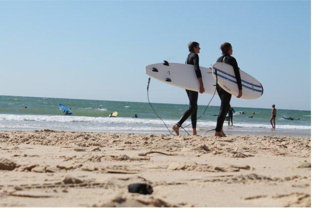 Reisebericht Frankreich Surfer Wellenreiter Strand Atlantik